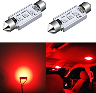 Alla Lighting CANBUS 211-2 578 LED Bulbs Super Bright 41mm 42mm Festoon 3030 SMD 212-2 569 6413 LED Lights Bulb for Interior Map, Dome, Trunk, Step Courtesy, License Plate Lights, Pure Red