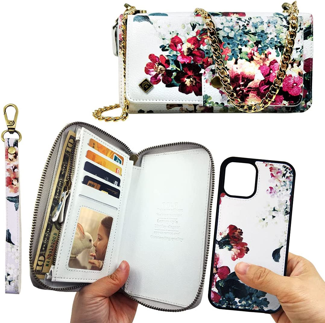 XGrand Crossbody Wallet Case for iPhone 12 Pro Max, Leather Wallet Case Detachable Magnetic 14 Card Zipper Purse Crossbody Chain Wrist Strap Design for iPhone 12 Pro Max 6.7 inch - White Flower