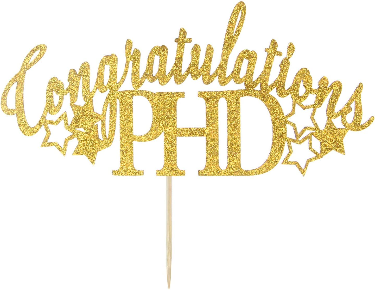 OFFicial store Gold Glitter Congratulations PHD Cake Topper of 2021 Class Inventory cleanup selling sale Gra -