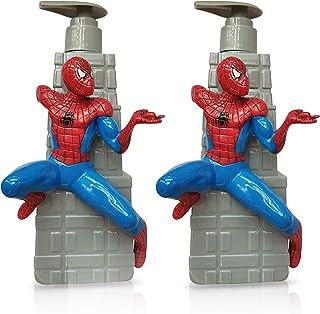 Finex 2 Pcs Spiderman Empty Refillable Pump Plastic Bottle Dispensers for Hand Sanitizer Liquid Soap Shower Gel Shampoo Co...