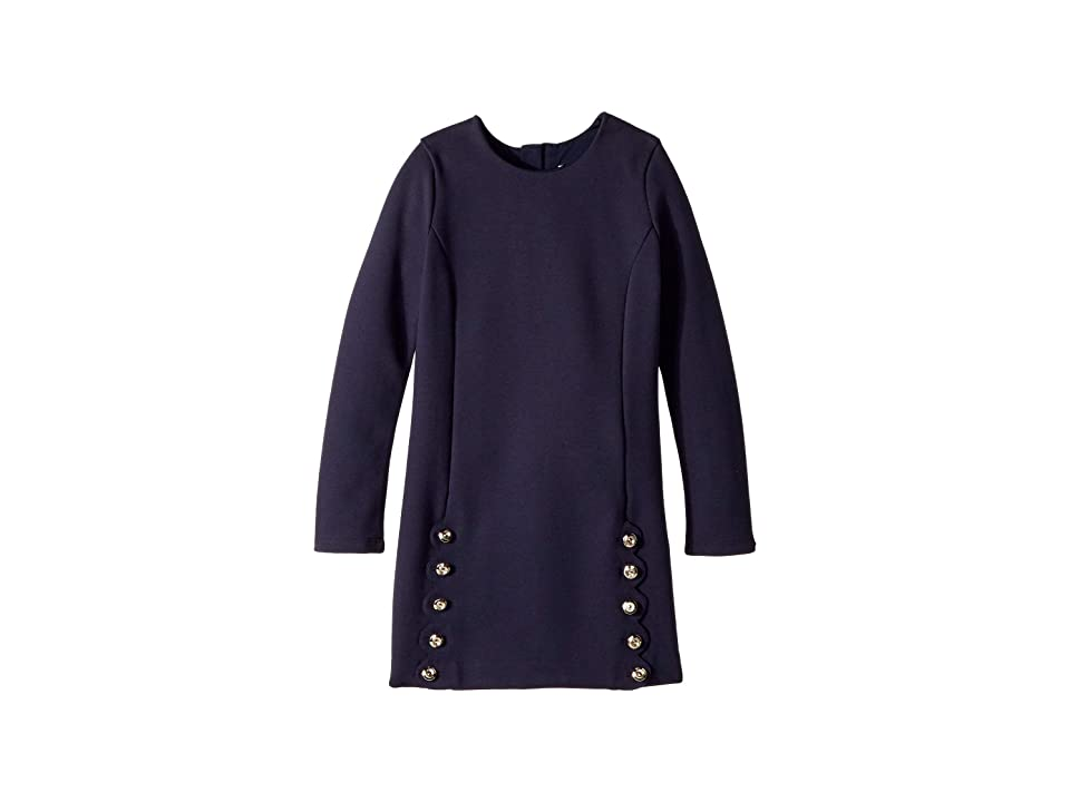 Chloe Kids Milano Dress with Iconic Scallop Cutting Detail (Little Kids/Big Kids) (Marine Navy) Girl