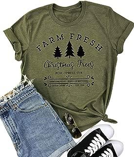 Farm Fresh Christmas Trees Letter Print T-Shirt Women Casual Short Sleeve Tee Shirts Top