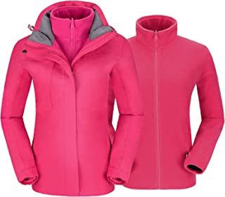 CAMELSPORTS Women's Ski Jacket for Winter 3 in 1 Waterproof Windproof Snow Hooded Jacket with Warm Fleece Liner Jacket - Pink - 3X-Large