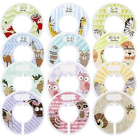 Ilauke Set de 8 Bébé Armoire diviseurs ronde plastique Pépinière Placard Gris