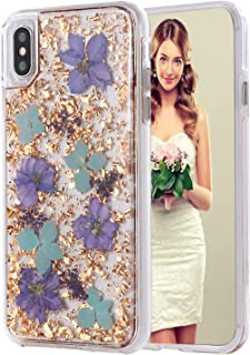 iPhone 11 Pro Max Case, Inkomo Women Luxury Fashion Natural Flower Glitter Foil Sparkle Hard Back Cover with Clear TPU Bumper Protective Phone Bling Case for iPhone 11 Pro Max 6.5'' (Purple Flower)
