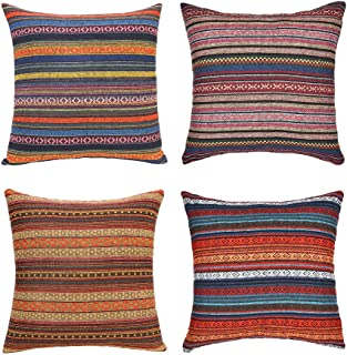 Merrycolor Decorative Throw Pillow Cover for Couch Sofa Bed Bohemian Retro Stripe Cotton Blend Linen Pillow Case(Only Pill...