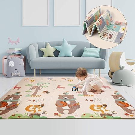 CRZDEAL Tappeto Gattonamento Bambini 197 x 177 x 1.35 cm Doppia Faccia Impermeabile Tappeto per Bambini in Schiuma XPE Pieghevole Tappeto Gioco Neonato