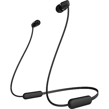 Sony WI-C200 - Audífonos inalámbricos intraaurales con banda para el cuello con micrófono para llamadas con manos libres , Negro