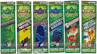 Juicy Jay Flavors Variety Pack Hemp Wraps (6 Packs, 2 Wraps Per Pack) Total 12 Wraps with ES Scoop Card