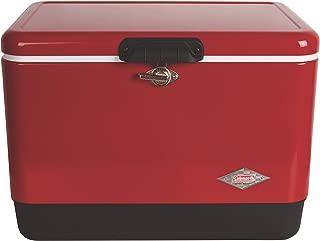 vintage red metal coleman cooler