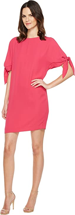 Crepe Knotted Sleeve Shift Dress