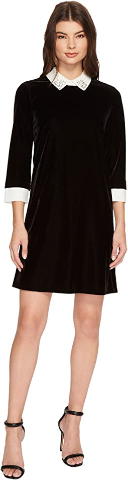 CeCe - 3/4 Sleeve Embellished Collar Velvet Dress