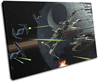 Bold Bloc Design - Star Wars X-Wing Tie Fighter Space 90x60cm SINGLE Canvas Art Print Box Framed Picture Wall Hanging - Hand Made In The UK - Framed And Ready To Hang