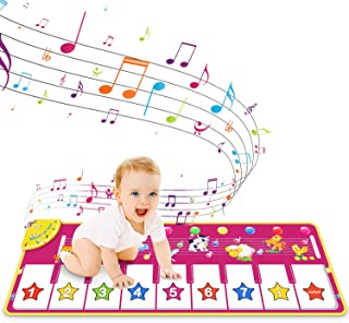 RenFox Kids Musical Keyboard Piano Mat, Electronic Music Play Blanket Dance Mat with 8 Different Animal Sound for Early Le...