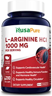 L-Arginine 1000 mg 200 Veggie Capsules (Non-GMO, 100% Vegetarian & Gluten Free) Amino Acid Arginine HCL Supplements for Wo...