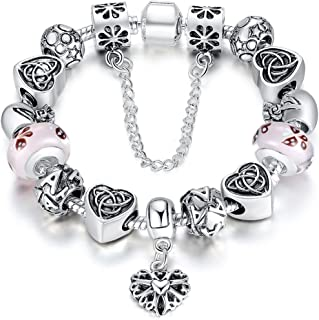 BISAER Murano Glass Beads Charm Bracelet Enameled Heart Silver Plated The World of Love Charm Bracelet European Style Snake Chain Bracelet Gifts for Teen Girls 18cm (7