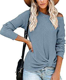Yahachiap Womens Off Shoulder Waffle Knit Sweater Front Knot Long Sleeve Fall Jumper Pullover Tops