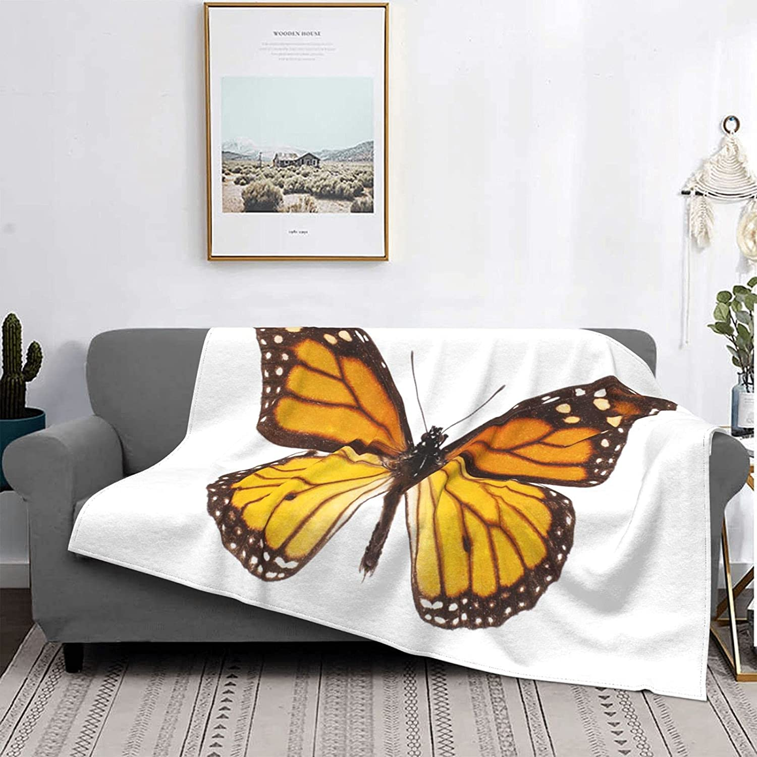 Fleece Throw Blankets Photo of Monarch Orange Butt Beautiful Brand new The Special price