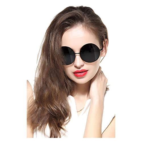 af290b7303bfe GEELOOK Oversized Round Circle Mirrored Hippie Hipster Sunglasses - Metal  Frame