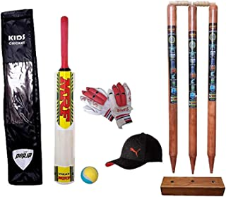 Crazy Sports Small Boys Cricket Set, Wooden Cricket Kit with Carry Bag, Cricket Kit Full Size