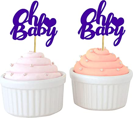 Darling Souvenir, Oh Baby Cupcake Toppers, Baby Shower Party Dessert Decorations - Pack of 40