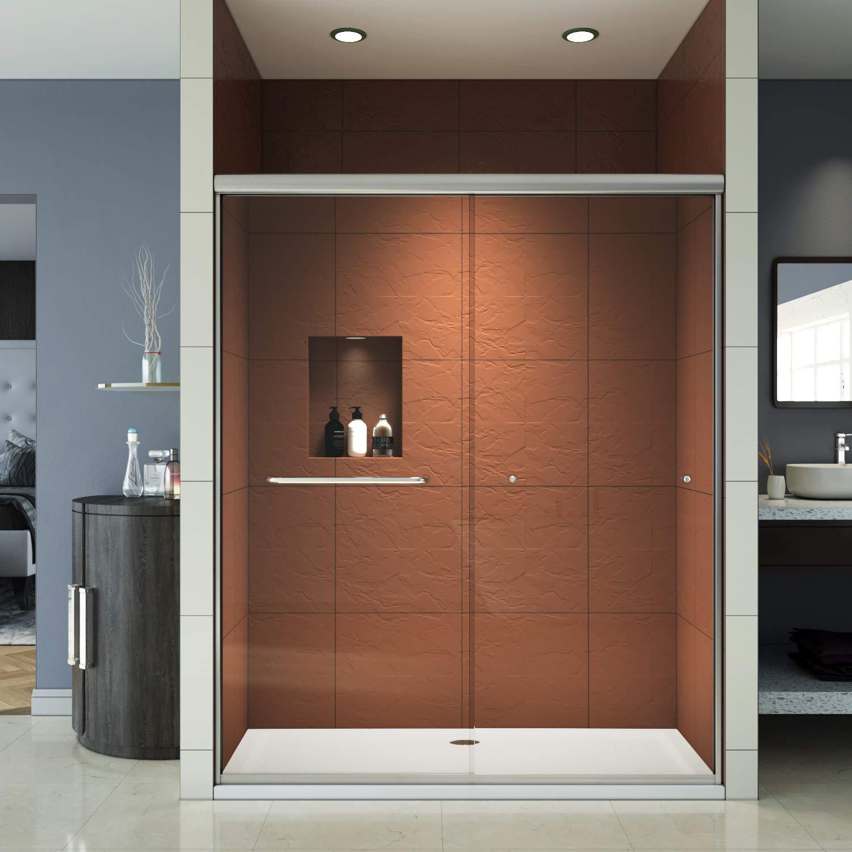 Elegant Bypass Sliding Shower Door 58 1 2 60 W X 72 H Shower Glass Doors 1 4 Tempered Clear Glass Brushed Nickel Double Sliding Shower Door Amazon Com