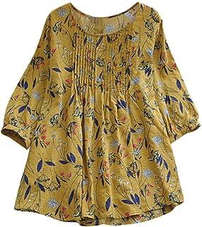 Dubocu Women's Tops Print Loose Pleated 3/4 Sleeve O-Neck Vintage Blouses