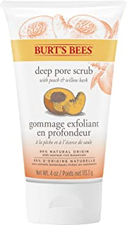 Burt's Bees Peach and Willow Bark Deep Pore Exfoliating Facial Scrub, 4 Oz (Package May Vary)