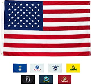 American Flag 3x5'   100% Guarantee   Heavy Duty   Embroidered Stars   Sewn Stripes   210D Oxford Nylon   Quadruple Stitched Fly End   Brass Grommets for Easy Display   U.S. Flag