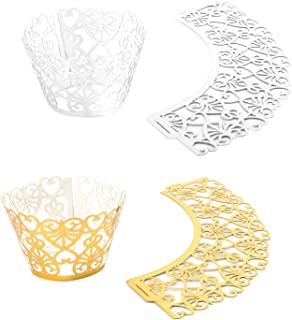 100 Pack Cupcake Wrappers Gold and Silver, HOMARTY Laser Cut Lace Heart Shaped Muffin Case Cupcake Wrapper Baking Cup Liner for Wedding, Party Festival Decoration