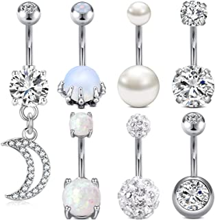 Sponsored Ad - MODRSA Belly Button Rings Surgical Steel Belly Rings Opal Pearl Diamond Stainless Steel Navel Rings Silver ...