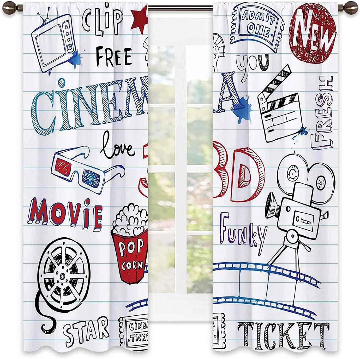 Movie Theater 90% Blackout Time sale Curtains Drawn Various Hand service Icons on