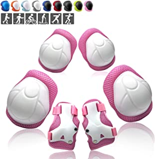 Wemfg Kids Protective Gear Set Knee Pads for Kids 3-14 Years Toddler Knee and Elbow Pads with Wrist Guards 3 in 1 for Skating Cycling Bike Rollerblading Scooter