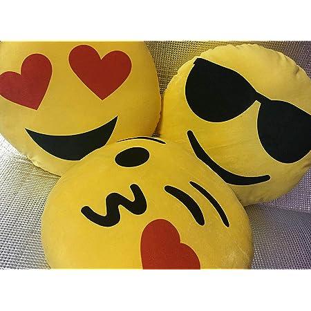 Bluedot Smiley Cushion Pillow, Standard, Yellow, Set Of 3