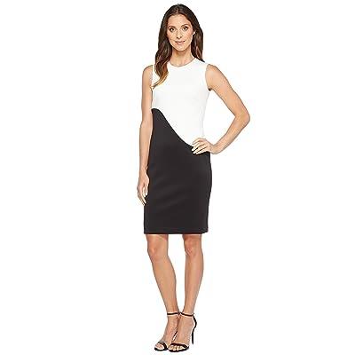 Calvin Klein Color Block Sheath Dress (Cream/Black) Women