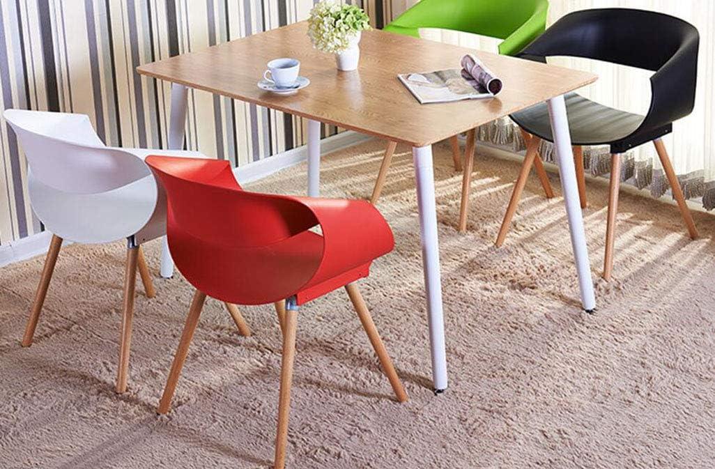 MYMAO Moderne Minimaliste Design Chaise Table de négociation et Chaise en Bois Massif Dossier en Plastique Chaise accoudoir [diverses Couleurs, 46cm * 49cm * 76cm],Red White