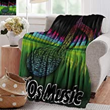 Throw Blanket for Couch,70s Party,Acoustic Audio Vivid Colored Musical Note Harmony and Melody Soundtrack Pirnt,Multicolor,Flannel Blankets Super Soft Warm Thick Blanket for Home 60