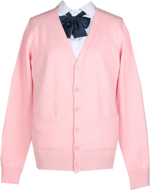 Taiduosheng Womens and Mens Long Sleeve Cotton Knitting Cardigan School Tops Boys and Girls Uniform Cardigan Sweater