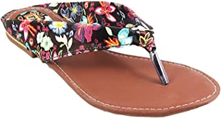 Honey Step Flats Floral Sandals Easy to Wear Casual Use For Women (Black)