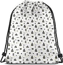 Mochila con cordón Bolsas Sport Gym Cinch Bag, Rayas Curvas abstractas en ángulo con triángulos de Puntos Composición de Estilo Doodle