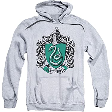 Harry Potter Slytherin Crest Adult Pull Over Hoodie Athletic Heather