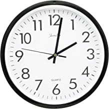DGQ 10 Inch Black Wall Clock, Silent Non Ticking Quality Quartz Battery Operated Round Easy to Read Home/Office/School Clock