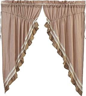 VHC Brands Classic Country Farmhouse Window Kendra Stripe White Prairie Curtain Pair, Red