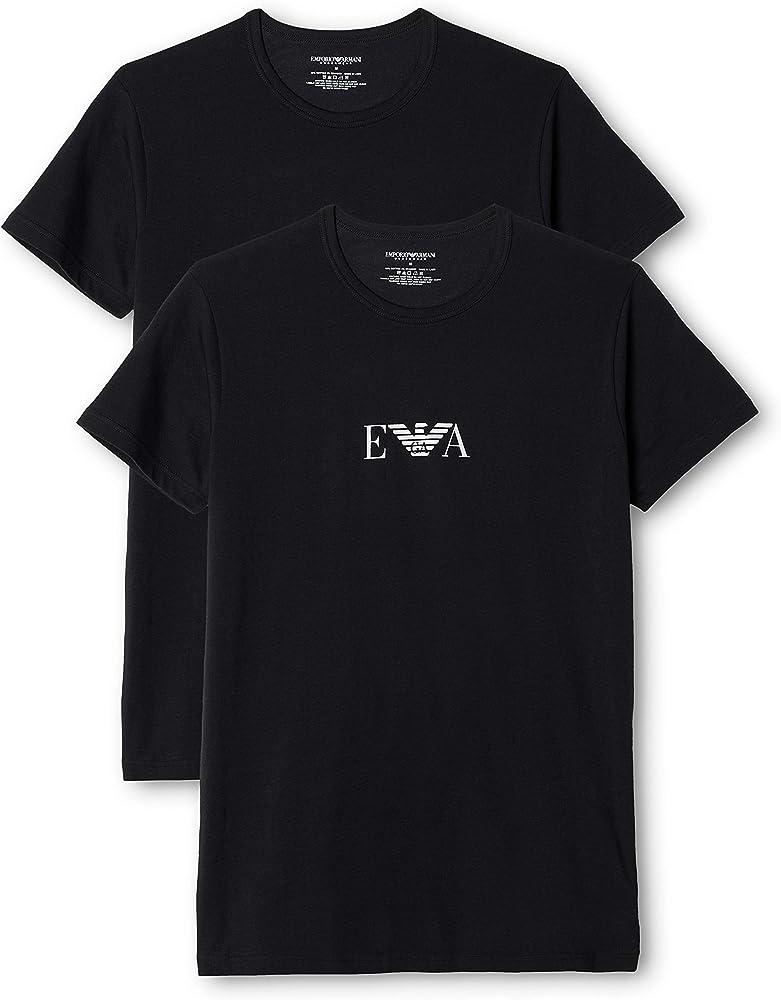 Emporio armani t-shirt,magliette per  uomo, set da 2 pezzi,95% cotone, 5% elastan 111267
