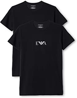 Emporio Armani Bodywear Men's Mens Knit 2PACK T-Shirt, Nero/Nero, M