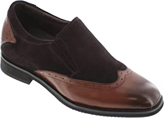 TOTO Men's Invisible Height Increasing Elevator Shoes - Suede/Leather Slip-on Lightweight Formal Loafers - 3 Inches Taller