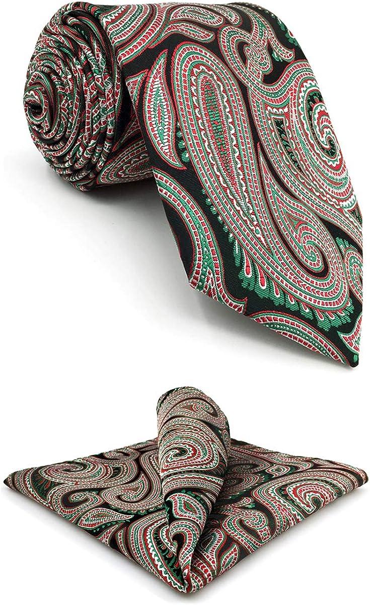 S&W SHLAX&WING Tie for Men Groom Necktie Emerald Green Red Paisley