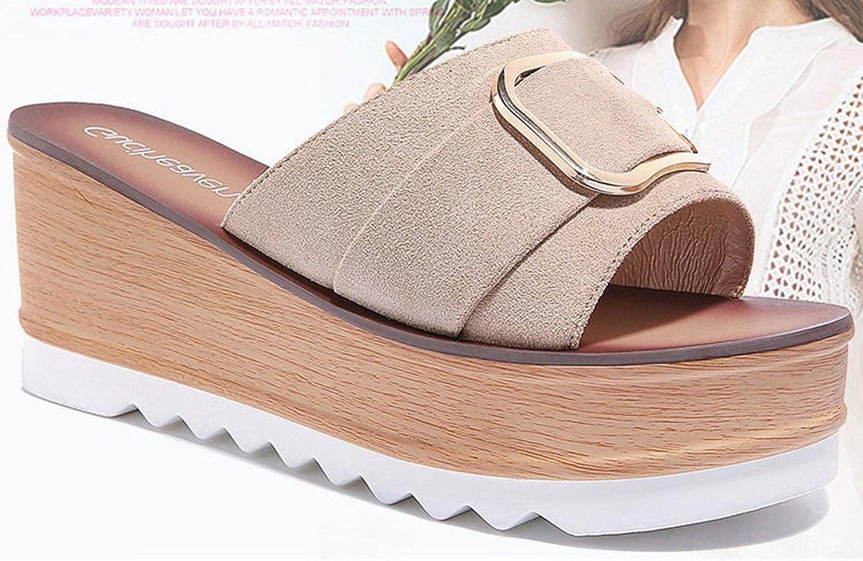 Oudan Steigung mit Einem Boden Boden Boden Dicke des Fonds der Sandalen Kalte Haus Bad Kolben Mode Schuhe (Farbe   Beige, Größe   39)  86623c