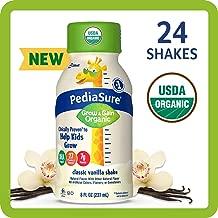 PediaSure Organic Kid's Nutrition Shake, Non-GMO, No Artificial Flavors or Colors, No Artificial Growth Hormones, 7g Protein, 32mg DHA Omega-3, Vanilla, 8 fl oz, 24 Count