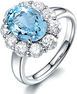 Rings for Her Sterling Silver Rings Oval Shape Blue Topaz Wedding Bands for Women